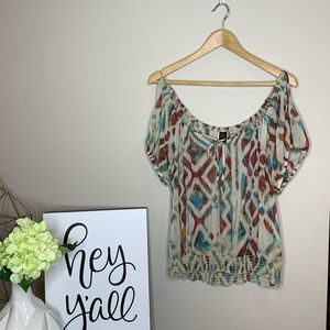 EUC | Wrapper Sheer Cold Shoulder Banded Blouse